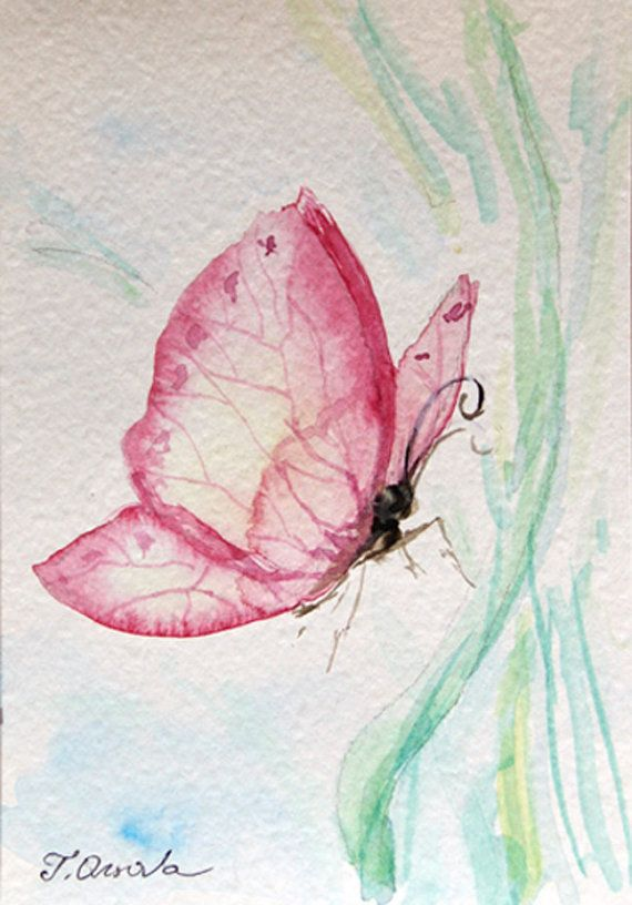 Miniature ORIGINAL painting of a butterfly, intending to alight on a green grass leaf. ORIGINAL, not a print. The first photo shows the painting on my