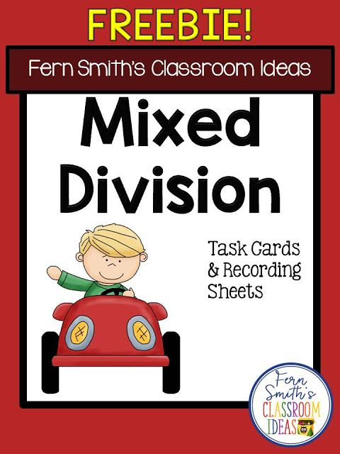 Mixed Division Task Cards and Recording Sheets Freebie from Fern Smith's Classroom Ideas at TeacherSherpa.