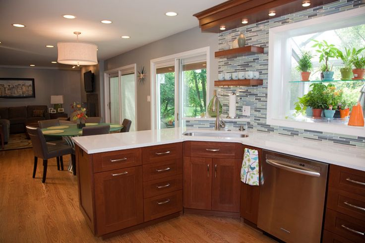Kitchen Design With Peninsula Corner Sink And Floating Shelves Northbrook Il