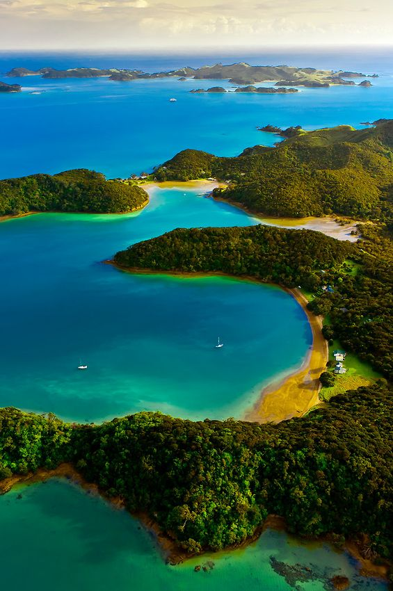 The Bay of Islands in the Northland region of the north island of New Zealand.
