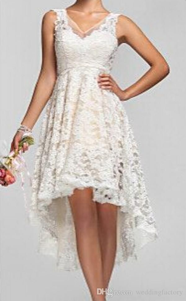 2016 Plus Size High Low Wedding Dresses Vintage Lace V Neck Back Garden Bridal Gowns Custom Made Short Beach
