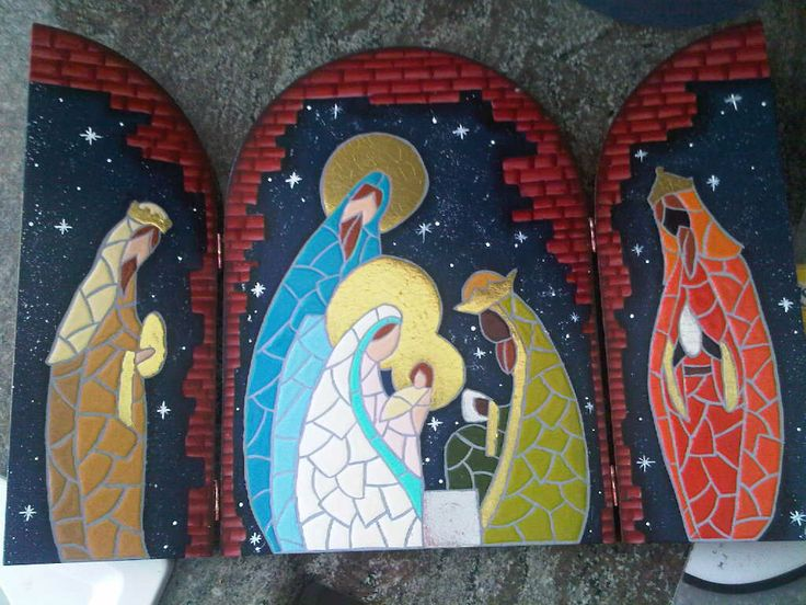 Pesebre en tríptico falso mosaico de Carolina VP
