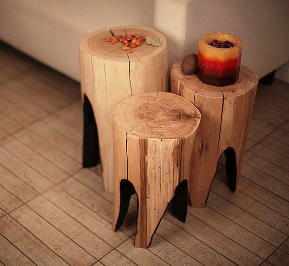 Tree Stump Table Reclaimed Wood Wood Furniture Side Table Husband Gift Rustic Table Coffee