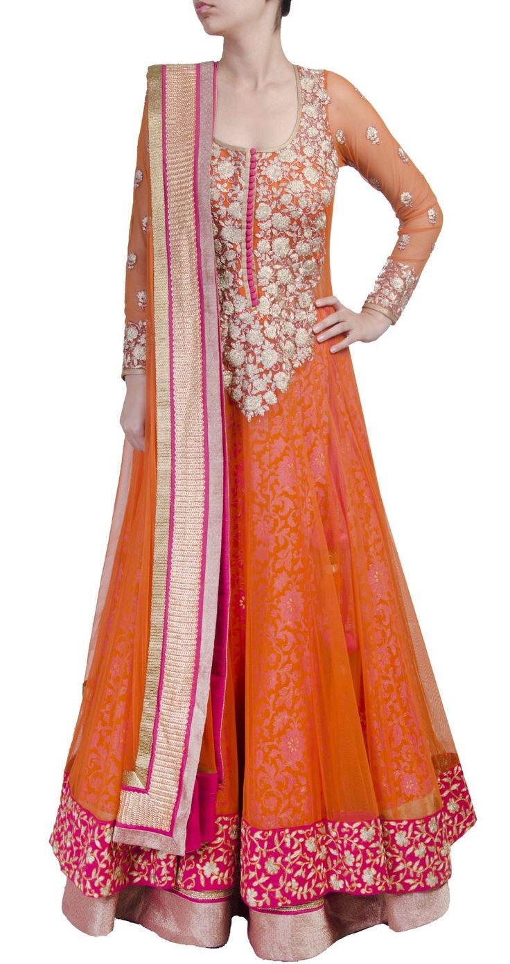SVA Orange sheer layered anarkali lehenga perniaspopupshop.com