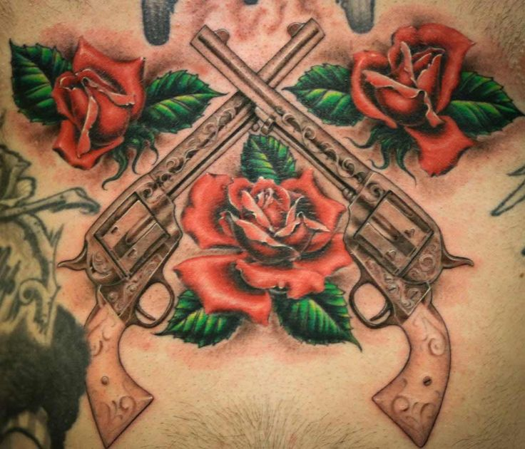 Long Gun Tattoo With Red Roses Flower