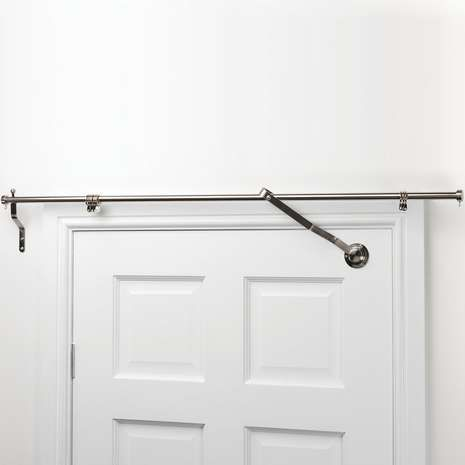 Satin Steel Door Curtain Pole | Dunelm