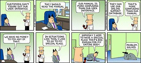 Dilbert over gebruikersinterfaces, handleidingen en supportwebsites.... Herkenbaar?
