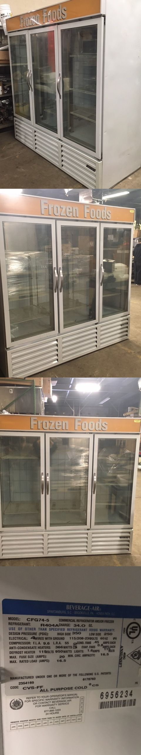 Food And Drink: Beverage-Air 3-Door Glass Door Merchandiser Freezer - Tested And Working Great! BUY IT NOW ONLY: $2495.0