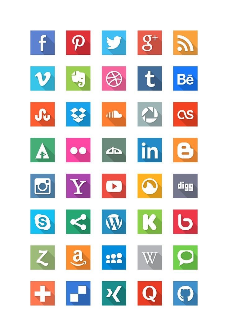 Social Media Flat Icons long shadow