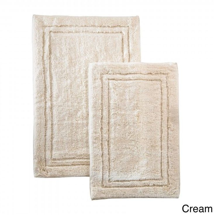 Bathroom Rug Set Brushed Cotton 2 Piece Non Skid Machine Wash Bath Mats  Cream