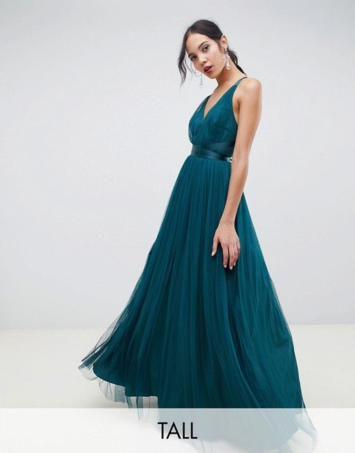 3f791c90f229 Image 1 of ASOS DESIGN Tall Premium Tulle Maxi Prom Dress With Ribbon Ties