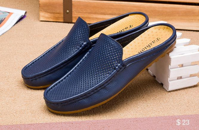 US $23 Urban Men Driving Shoes Luxury Brand Shoes Summer Men Shoes Backless Loafers Open Backs Shoes Without Back Breathable Holes
