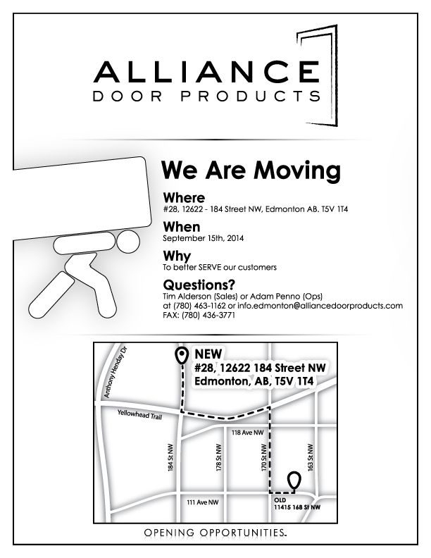 The Edmonton branch of Alliance Door Products has MOVED effective Sept. 15 2014  sc 1 st  Pinterest & 85 best Marketing Information images on Pinterest | Marketing ...