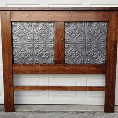 Pine Headboard with Tin Tile Inserts - this gives me an idea for other things