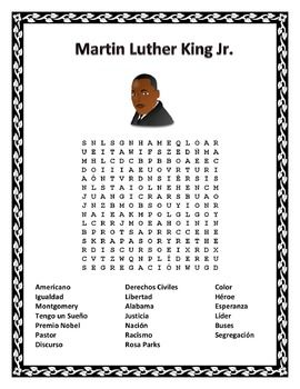 #martinlutherkingspanishThis exciting word search & double puzzle can teach vocabulary words to children using cognates and a hint word to let them know what the search is about.  Have students compete for a homework pass in the older grades.  Great activity for the month January to celebrate Pastor Martin Luther King Jr.