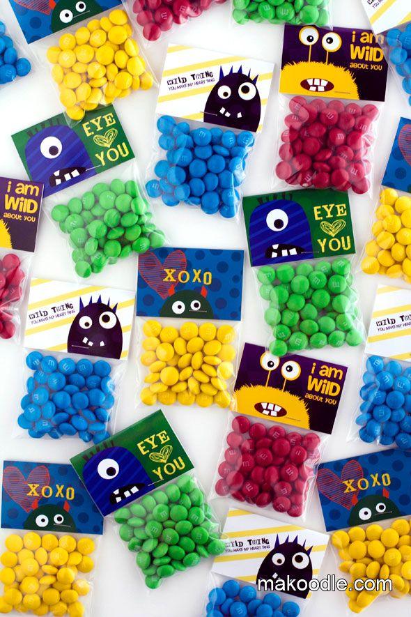 Monster theme Valentine - Valentines - Valentine card & gift ideas - DIY Valentine's Day Free Printable Treat Bag Toppers - #valentines