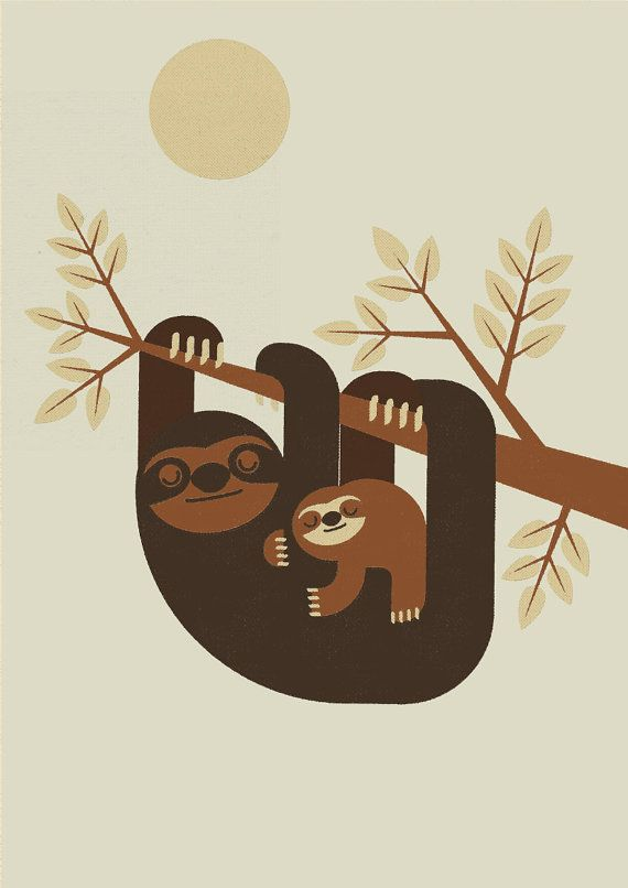 Personalised Retro Sloth and Baby Print Wall Art Home by Nextline, £10.00