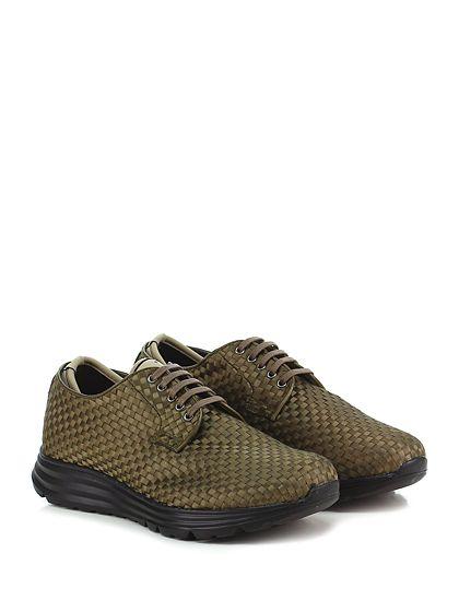 Be Positive - Sneakers - Uomo - Sneaker in pelle intrecciata e tessuto elasticizzato con suola in gomma. Tacco 40, platform 30 con battuta 10. - MILITARE - € 289.00