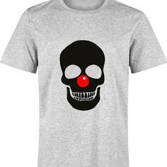 T-shirt gris CLOWN TETE DE MORT SKULL pour homme s à xxl - spécial halloween