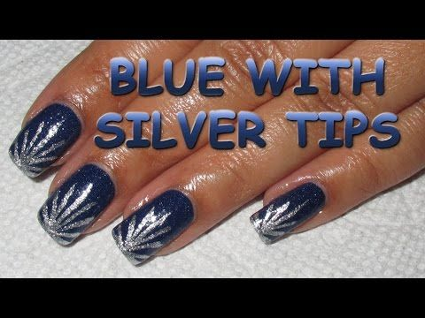 New Year's Fireworks Inspired Blue with Silver Tips | Nail Art Tutorial - YouTube