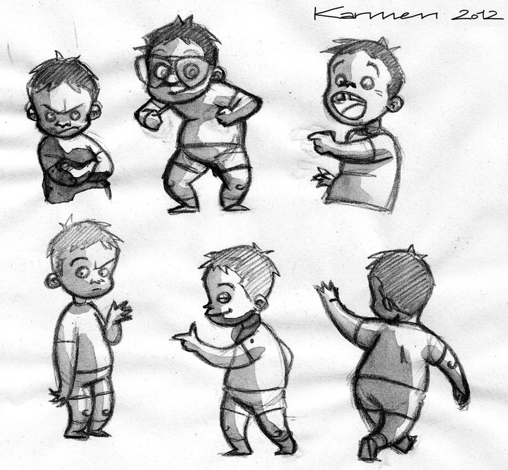 Sketches for child Roberto (pencil and ink)