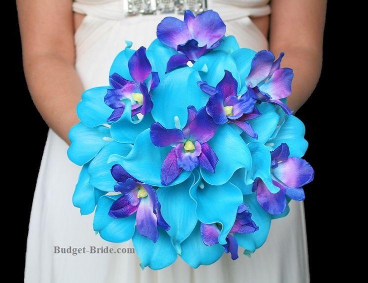 blue orchid wedding flowers with malibu blue calla lilies