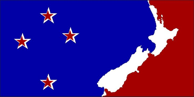 Stars and Land by Gilberto, tagged with: blue, red, white, Southern Cross, history, landscape, Māori culture, nature, New Zealand Map.