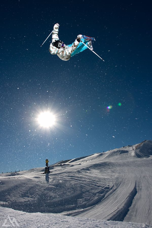 Jossi Wells boosts out of a quarter pipe at Snowboard in New Zealand. Lit with an Binchrom Ranger.