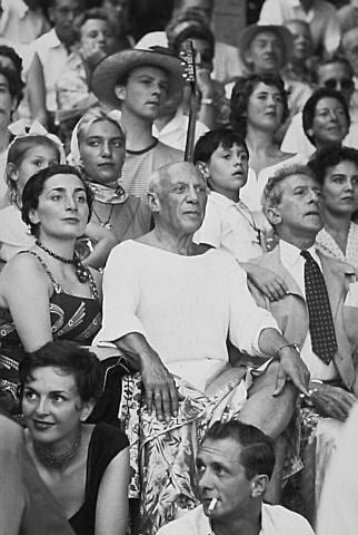with Jacqueline Roque, Jean Cocteau, Paloma, Maya and Claude, Local Corrida, Vallauris, 1955