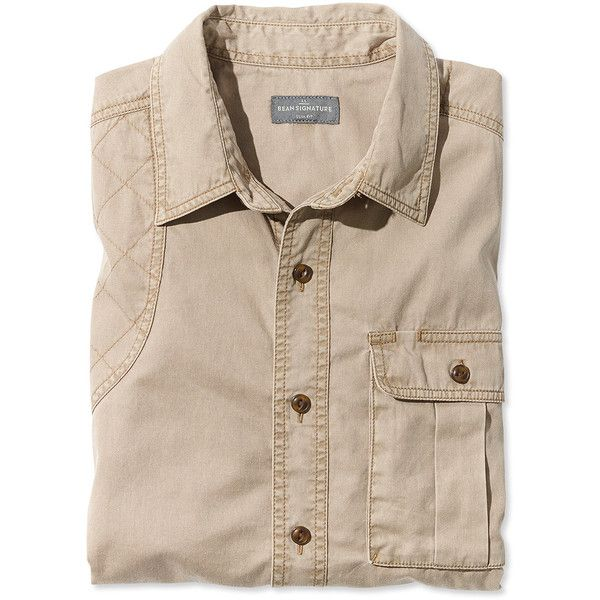 L.L.Bean Signature Signature Washed Twill Shirt ($79) ❤ liked on Polyvore featuring men's fashion, men's clothing, men's shirts, men's casual shirts, mens slim fit casual shirts, mens button down shirts, mens button up shirts, mens slim fit shirts and mens twill shirts