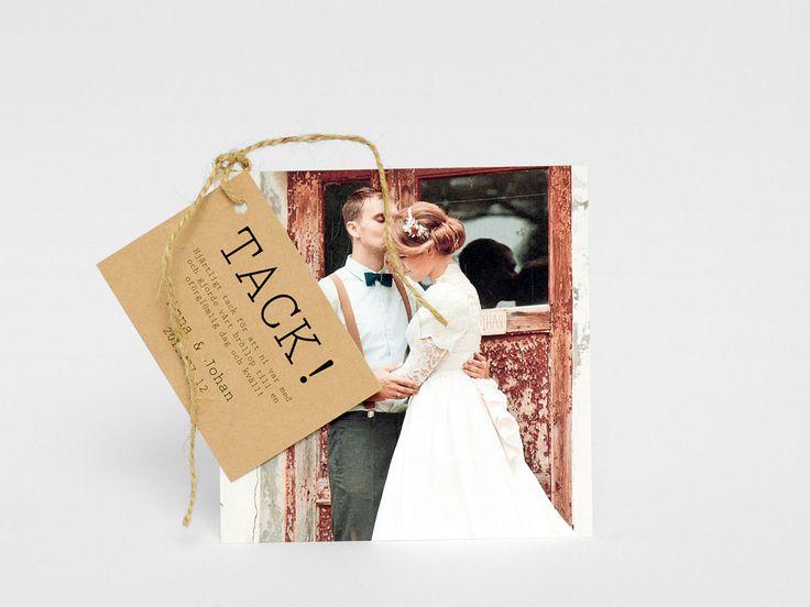 Visby tackkort brollop. Fint bröllopskort med tag hängandes på. Eko vintage boho unikt