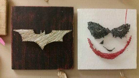 String art for comic locers, for the superheroes and the villians. Batman vs joker https://www.etsy.com/listing/259612290/joker-batman-and-riddler-string-art