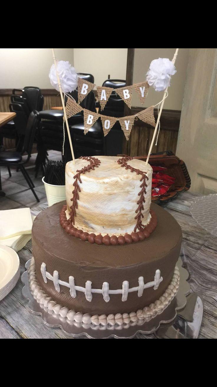 Vintage sports baby shower cake