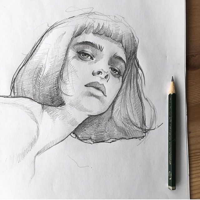 Made up girls inspire me more often than real girls do. I like this person's draing style, not too neat, I enjoy that. By @lazy.arts _ #arts_help