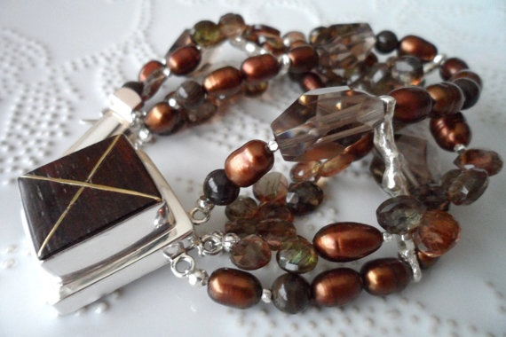 Andalucia  Brown gemstones Freshwaterpearls Wood by WencheDesign, $295.00