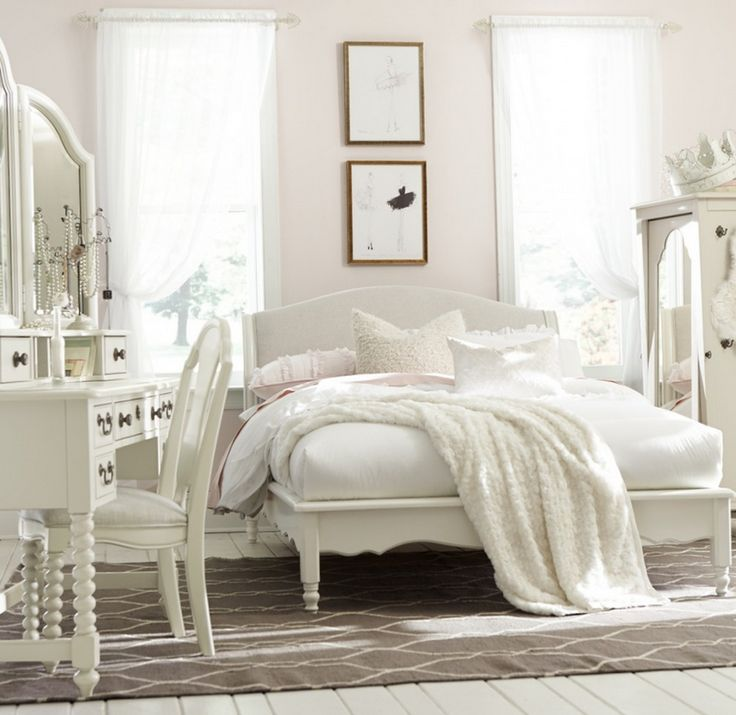Designed to last with its classic style, the Wendy platform bedroom set inspires the sweetest of dreams. The tea stain upholstered headboard, decorative wood trim, and dusted pewter hardware make this an enchanting little girls bedroom set.