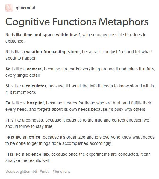 MBTI - Cognitive Functions Metaphors...Si, Te, Fi, Ne...really like the F descriptions...Fi often really bugs Fe people.