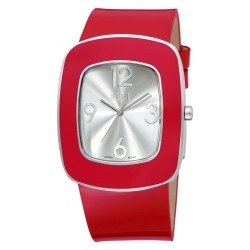 Women that wear red are bold and confident. This ELLE watch for women is a real beauty that will get you many compliments. It's rectangular stainless steel case has a Sunray Silver dial with a silver and red bezel for contrast. Add a red leather strap and your watch is complete. This is a larger watch that measures about 1.56 inches. We also carry it in black for those days when you don't feel so bold and confident.