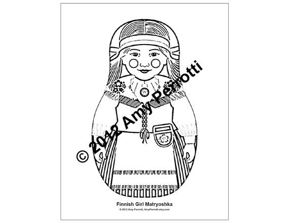 Finnish Girl Matryoshka Coloring sheet PDF by AmyPerrotti on Etsy