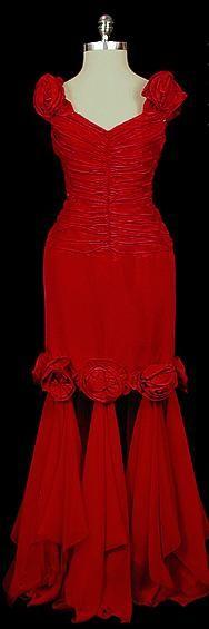 Dress  Oscar de la Renta, 1980s  The Frock: Oscar De La Renta, Velvet Dresses, Red Velvet Dress, Oscars, Wedding Dress, Vintage Oscar, Oscar, Haute Couture