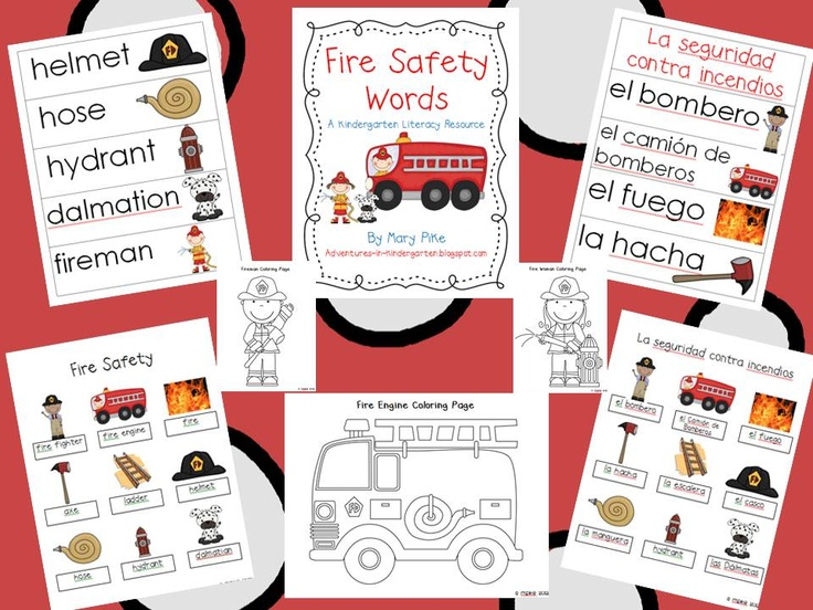 Adventures in Kindergarten: Fire Safety Word Walls in English and Spanish!