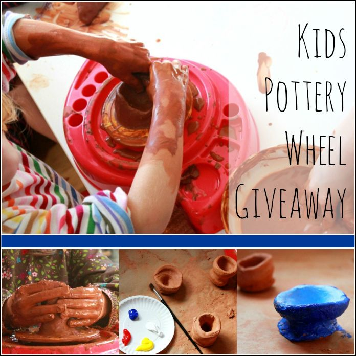 Kids Pottery Wheel Giveaway by Craft Project Ideas -- What is it with kids and clay? They LOVE making simple cups and bowls on their own pottery wheel!