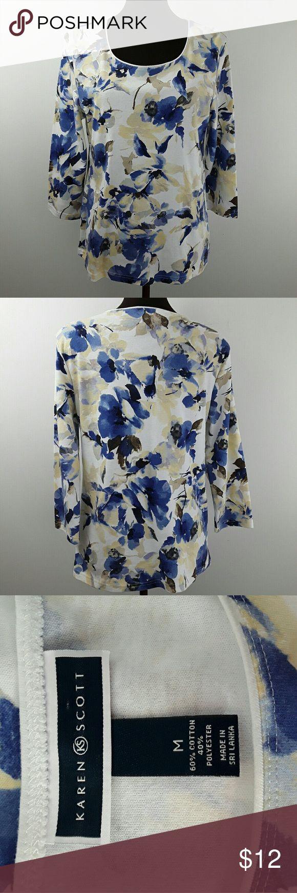 Karen Scott women's Top 33B16 Beautiful foral print top 100% Cotton Karen Scott Tops Tees - Long Sleeve