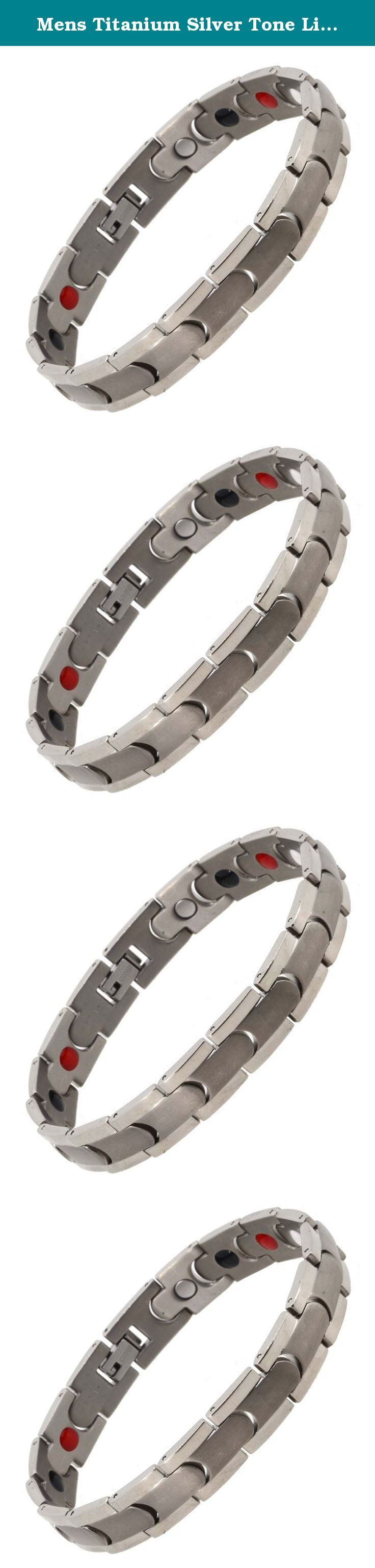 Mens Titanium Silver Tone Link Chain Extra Strong Magnetic Bracelet (Gray). Titanium is a very light but strong metal. The main difference from titanium and stainless steel is its light weight. There are magnets on the back of the bracelet. This bracelet should be kept away from pacemakers. This link chain titanium metal bracelet is a great and thoughtful gift for a boy or man. The bracelet is gift-packed individually. A titanium bracelet is a nice yet manly piece of jewelry, which is…