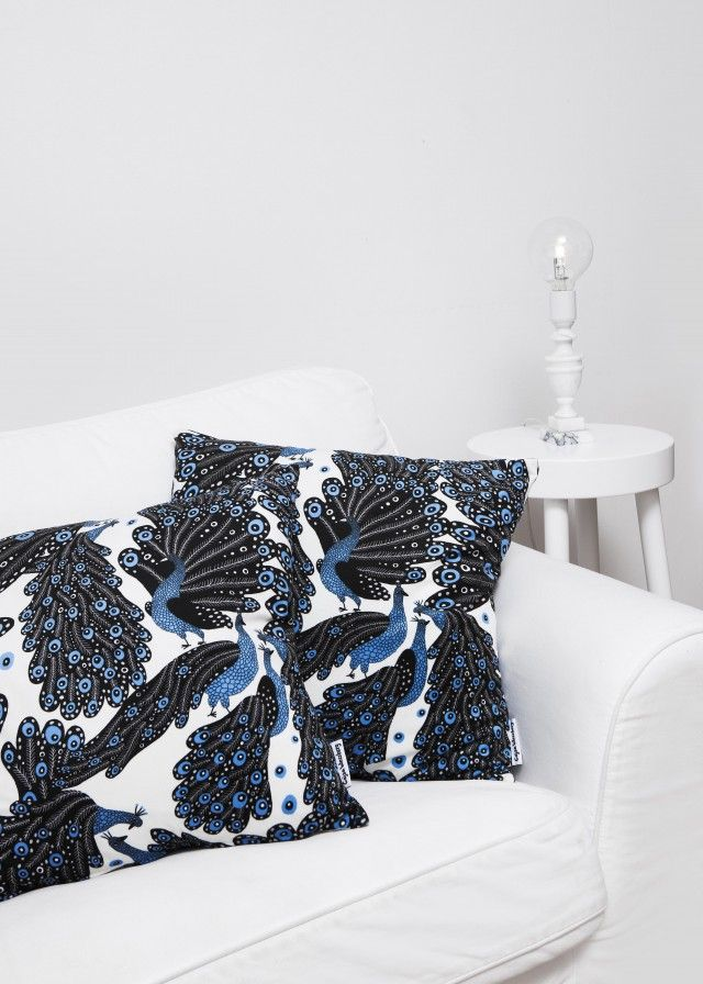 Peacock cushion cover by Scandinavian designer Casja Wessberg - Nordic Design Collective