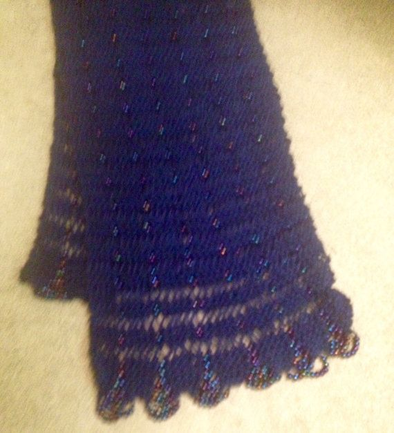 Hand knit blue beaded cotton scarf by WestEndCo on Etsy