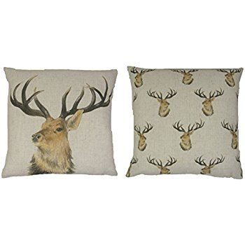 EVANS LICHFIELD STAG DEER REVERSIBLE LINEN BLEND MADE IN THE UK BEIGE BROWN CUSHION COVER 43CM - 17""