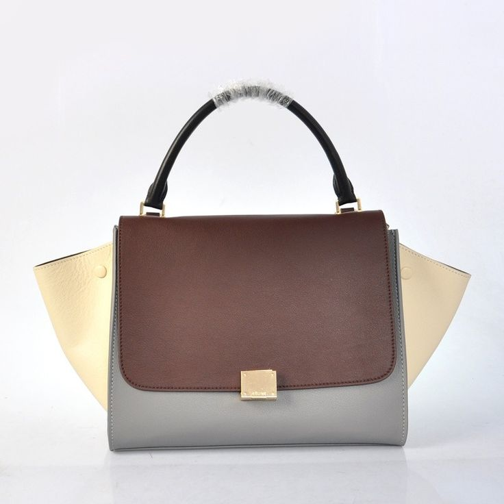 Celine Trapeze Bag Tricolor Beige Grey Coffee http://www ...