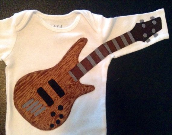 Delightfully Fun Woodgrain Bass Onesie