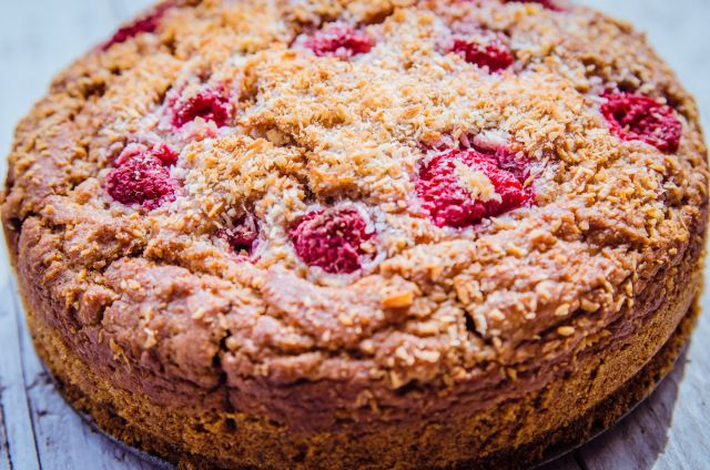 Perfect for the afternoon cuppa  Wholegrain Coconut Raspberry Cake | GoodnessGreen